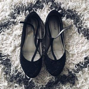 Black Rhinestone Ballet Flat